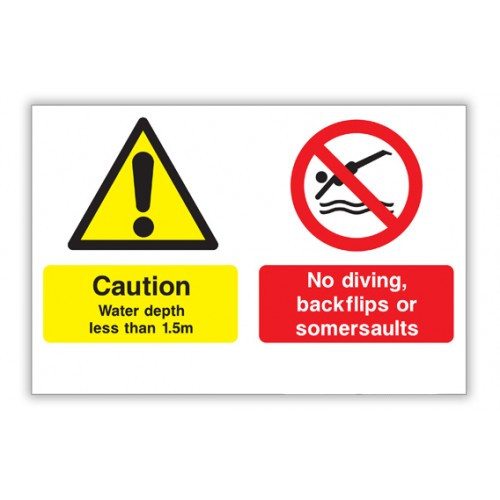 No Diving Safety Sign - Shallow Water, No Diving, No Backflips or Somersaults (600x400)