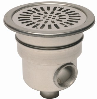 "Stainless Steel Main Drain 2"" Side Outlet 1.5"" Base"